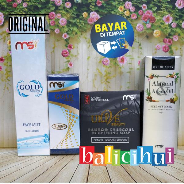 balicihui msi sabun bamboo ulive + msi glowing serum + msi face mist + msi almond mask 100% original