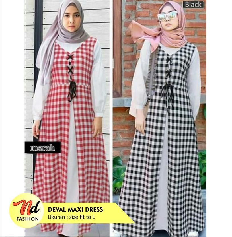 Features Deval Maxi Baju Gamis Long Dress Wanita Muslim Syari Remaja