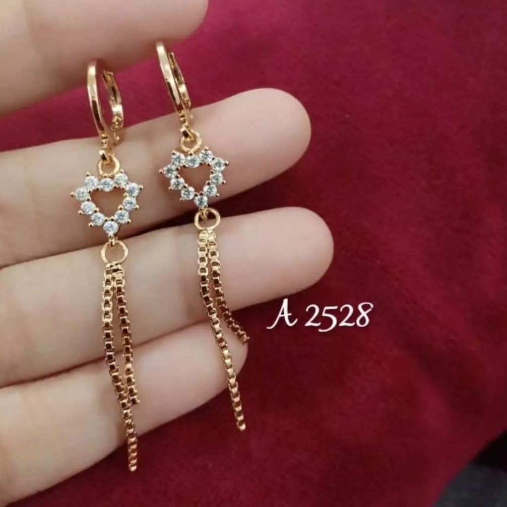anting drop jurai model love xuping perhiasan fashion