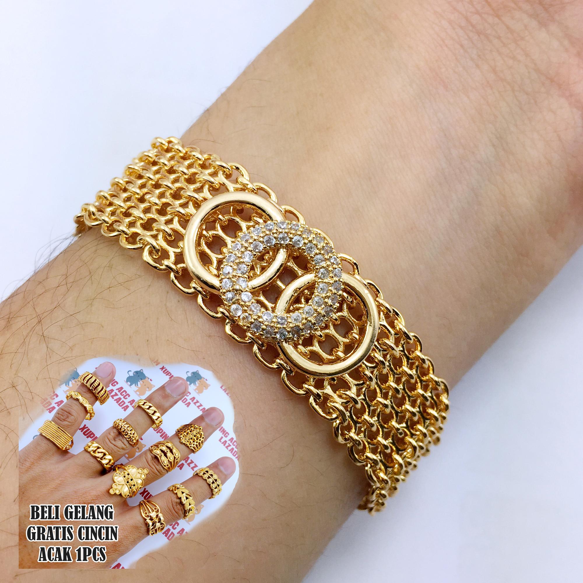 golden crown gelang pita gratis cincin cantik 1pcs