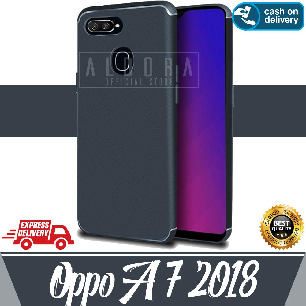 Aldora Case For Oppo A7 2018 SoftCase UltraSlim Cross Pattern Series Premium Quality
