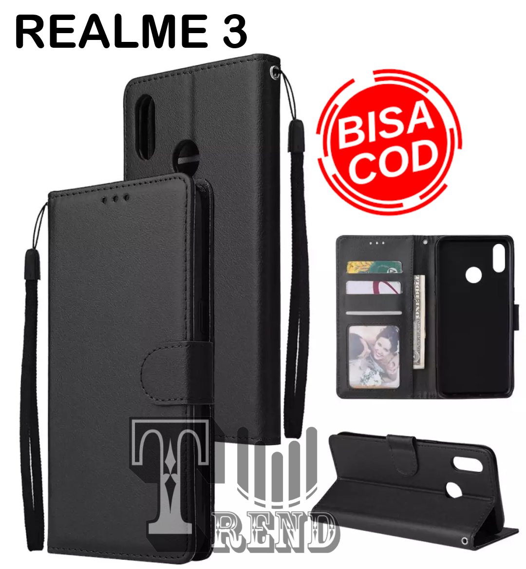 LEATHER CASE FLIP UNTUK REALME 3 -FLIP  WALLET CASE KULIT REALME 3  - CASING DOMPET-FLIP COVER LEATHER-SARUNG BUKU HP