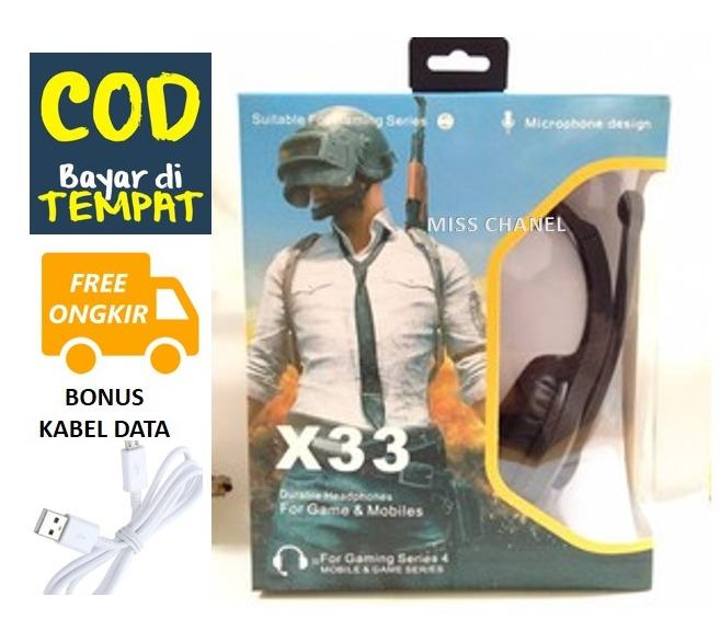 (promo bonus kabel data) headset /handsfree gaming extra bass full streo headphone model x33 – untuk semua tipe hp pclaptop dll – henset full bass jernih