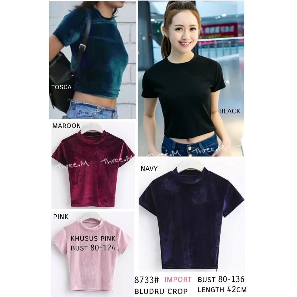 dandelia / BLUDRU CROP 8733 (nz) / blouse wanita / blouse beludru / kaos