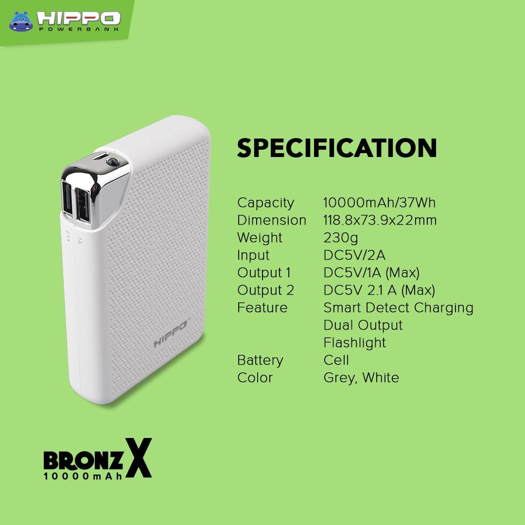 ... HIPPO POWER - BANK BRONZ X 10000 MAH WHITE PRODUK DESAIN MINIMALIS - 4