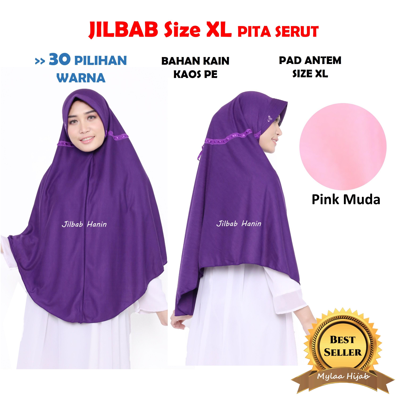 jilbab hanin instan size xxl bahan wolfis wolpeach grade a dewasa / anak sekolah hijab antem syari  kain kaos hijab bergo  grosir .
