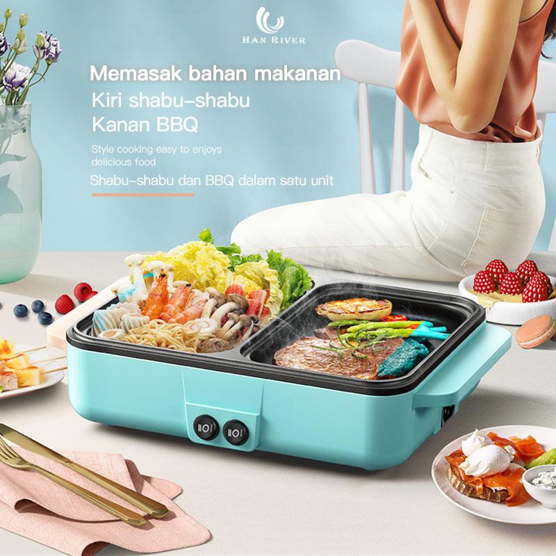 han river listrik barbecue oven grill smokeless pan machine 2in1bbq panggang goreng