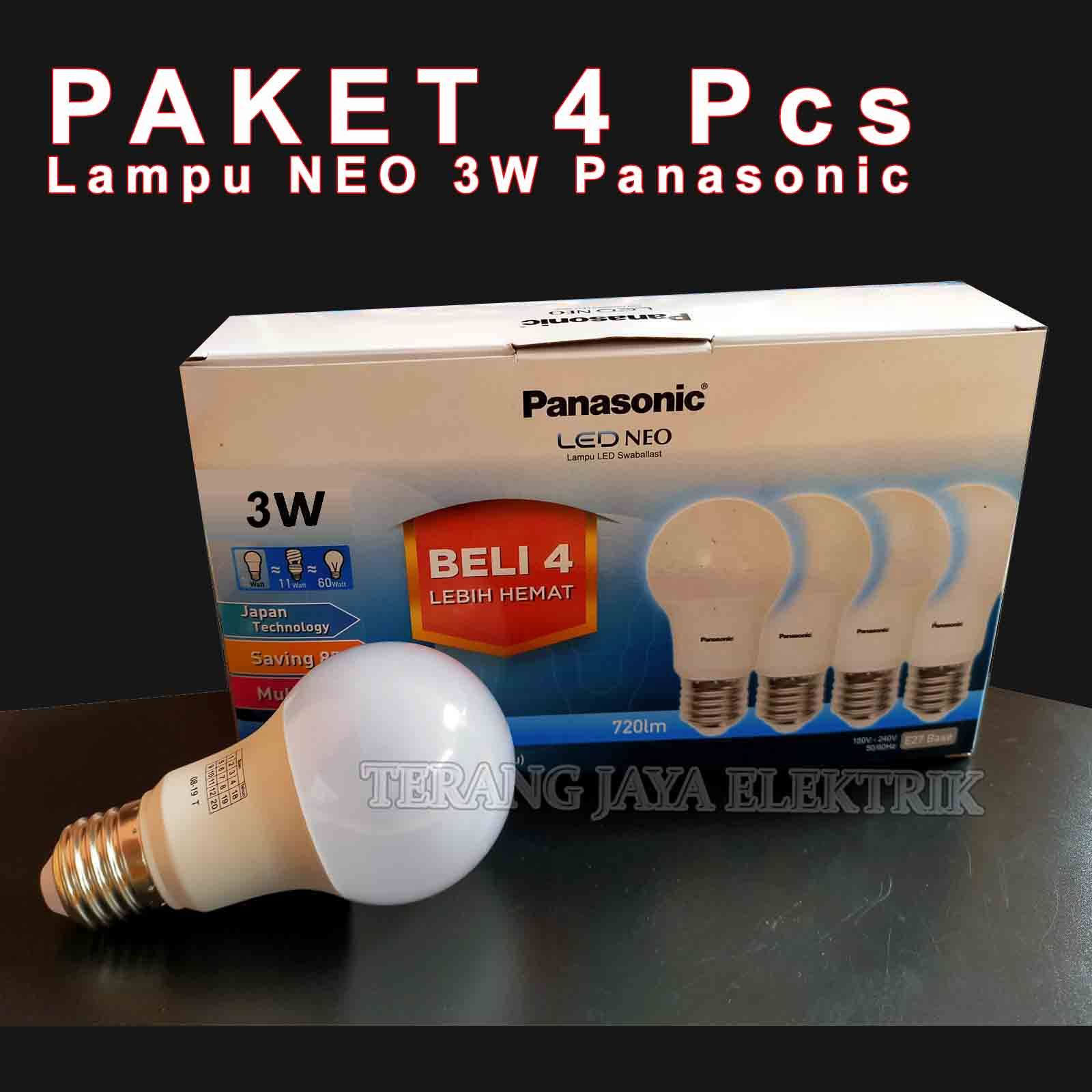paket 4 pcs lampu/bohlam led neo 3 watt putih panasonic