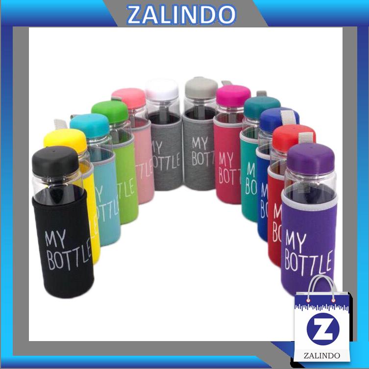 zalindo – (bahan pc) my bottle bening sarung busa 12 warna / ada logo bpa free / anti pecah / tanpa kotak
