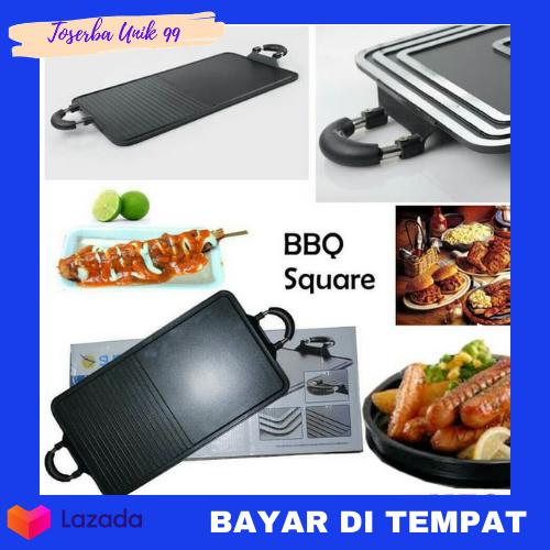 suggo grill pan teflon 2 in 1 alat bakar sate daging bbq square