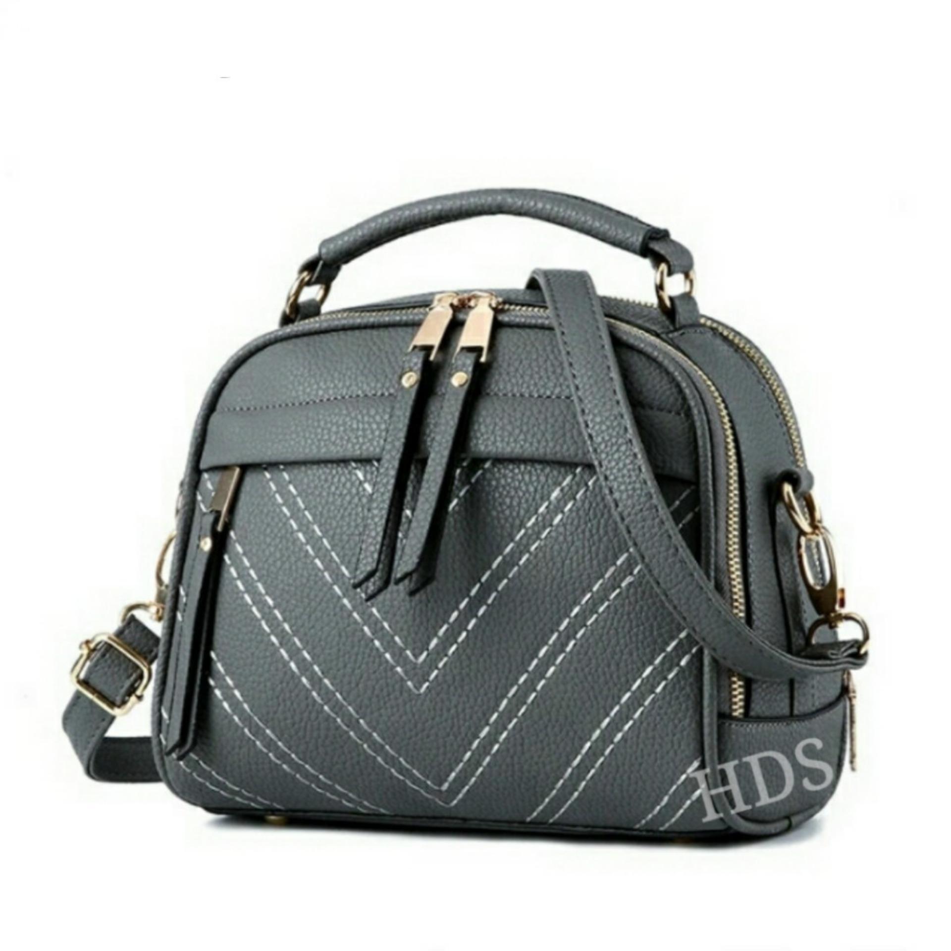 Zeba Sling Bag Korean Style Milano Double Zipper / Tas Selempang Wanita Korean Style