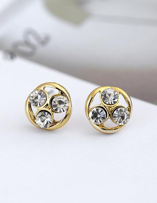LRC Anting Tusuk Fashion Gold Color Diamond Decorated Earrings