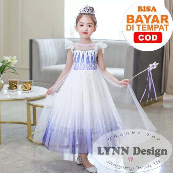 lynn design – baju dress kostum princess frozen elsa anak putih
