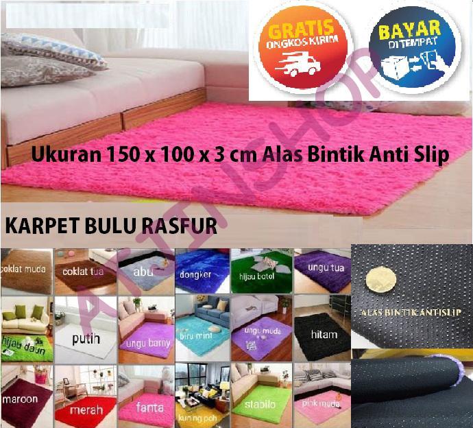 TjinCollection- Karpet Bulu Rasfur Dengan Alas Bintik 150x100x3 Cm isi Busa Super Royal Berkualitas [