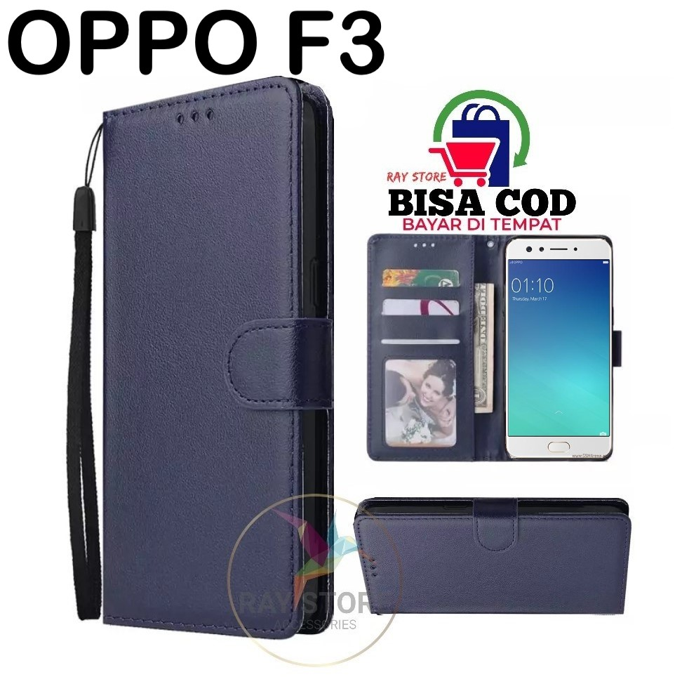 OPPO F3 LEATHER CASE PREMIUM-FLIP WALLET CASE KULIT UNTUK OPPO F3 - CASING DOMPET-FLIP COVER LEATHER-SARUNG BUKU HP