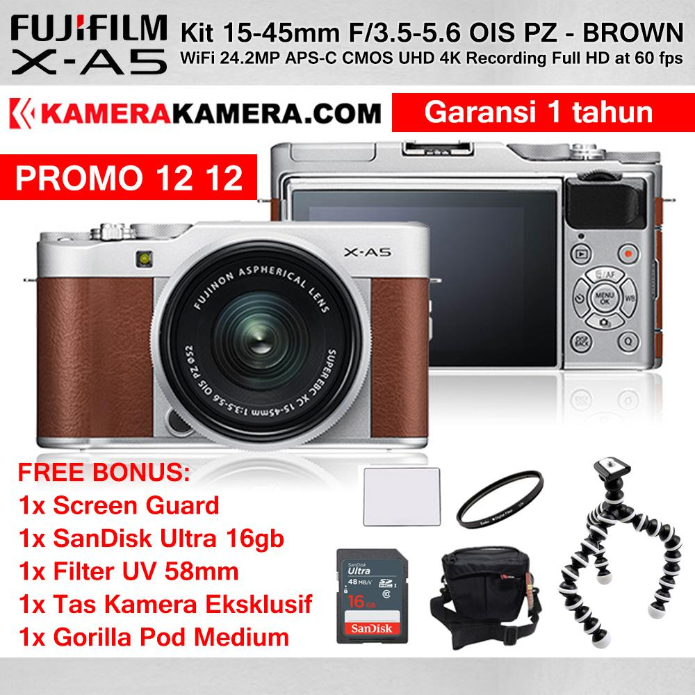 FUJIFILM X-A5 Kit 15-45mm WiFi 24MP 4K - Mirrorless Camera Fujifilm XA5 PROMO 12 12 Garansi 1th + Screen Guard + SanDisk Ultra 16gb + Filter UV 52mm + Tas Kamera + Gorilla Pod Medium