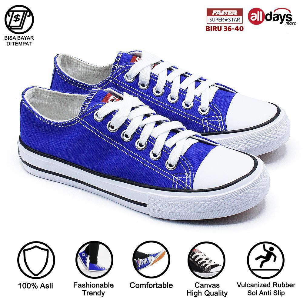 faster sepatu sneakers kanvas wanita 1603-03 – blue/white size 36-40