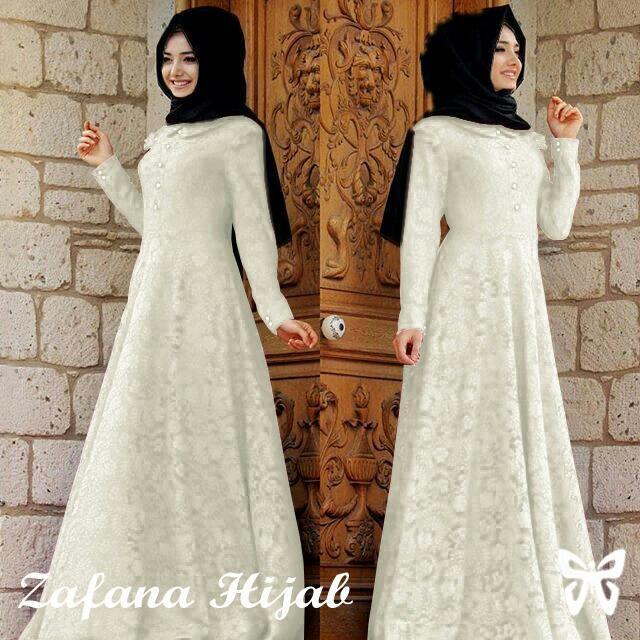 gamis warna putih / baju gamis pengajian / gamis elegant putih bersih / baju gamis modern / gamis  / gamis bahan bagus / gamis promo / dress gamis muslimah / gamis muslim / dress muslimah elegant (gamis serba putih) – putih