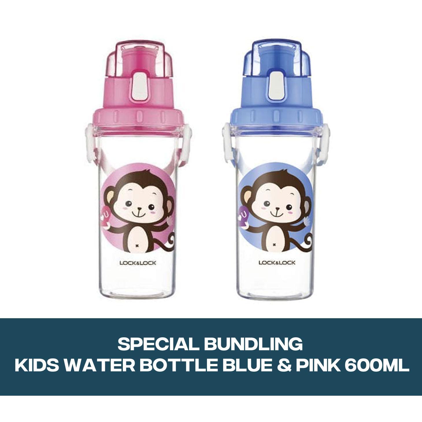 Lock&Lock Special Bundling Kids Water Bottle Blue & Pink 600ML