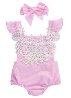 2 Pcs Baru Lahir Bodysuits Bayi Baby Girls Pink Renda Baju Monyet Floral Backless Jumpsuit Pakaian