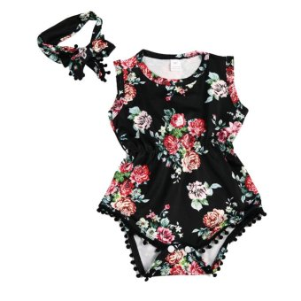 2 Pcs Bayi Perempuan Summer Floral Dicetak Baju Monyet Sleeveless Jumpsuit + Headband-Intl
