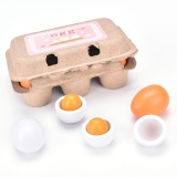 6 Pcs Pendidikan Prasekolah Kid Berpura-pura Bermain Mainan Telur Kayu Yolk Children Hadiah Kuning & PUTIH -Intl - 3