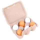 6 Pcs Pendidikan Prasekolah Kid Berpura-pura Bermain Mainan Telur Kayu Yolk Children Hadiah Kuning & PUTIH -Intl - 2