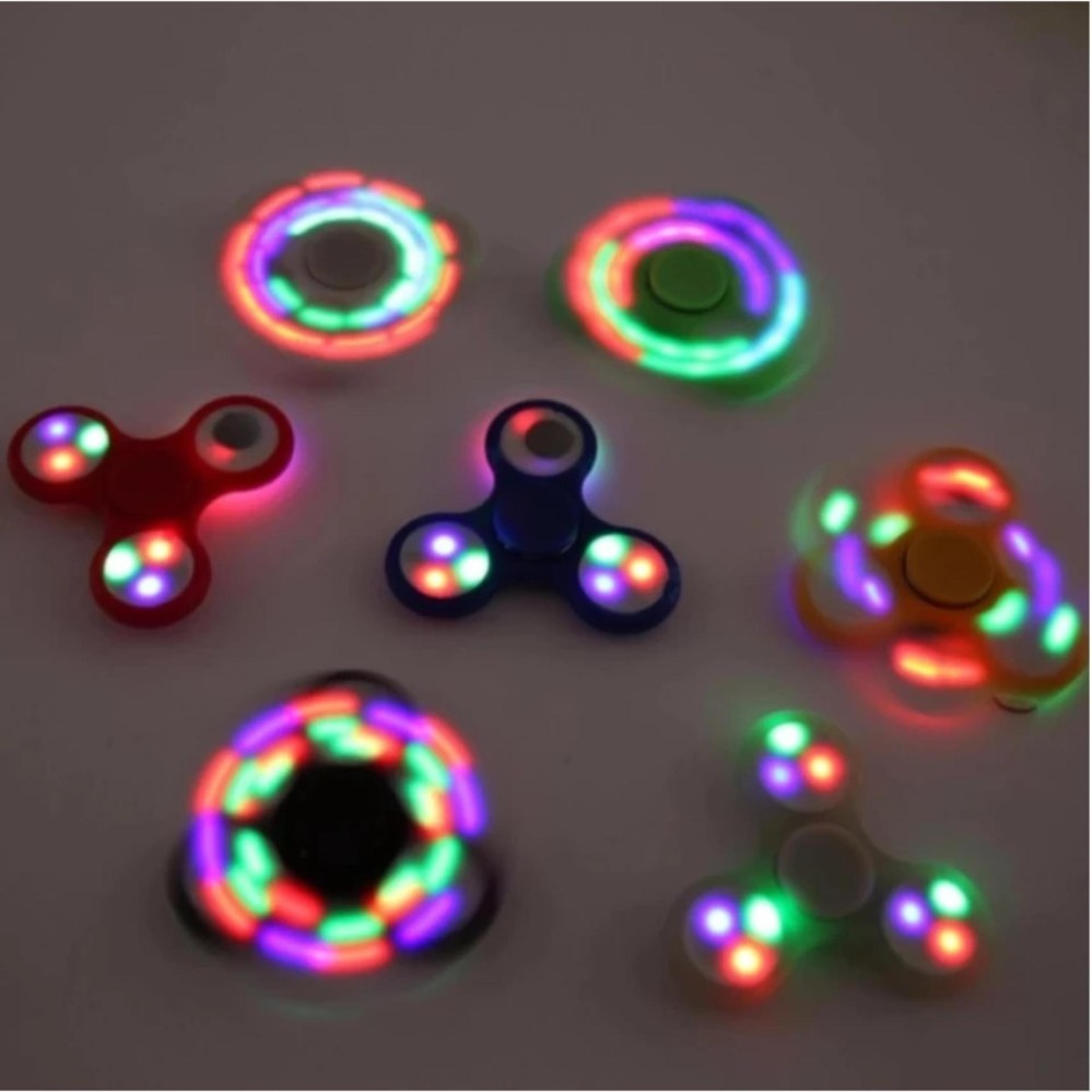 Review of AIUEO LED Fidget Spinner Hand Toys Mainan Tri-Spinner EDC Focus Games Penghilang