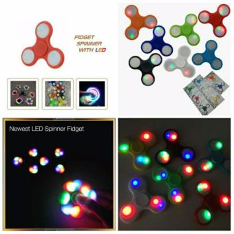 ANGEL LED Fidget Spinner Hand Toys Mainan Tri-Spinner EDC Ceramic Ball Focus Games Penghilang stress Warna Random ...