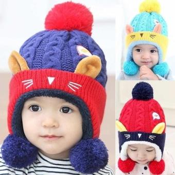 Bayi Beanike Laki-laki Perempuan Kucing Topi Katun Anak-anak Cetak Merajut Topi-