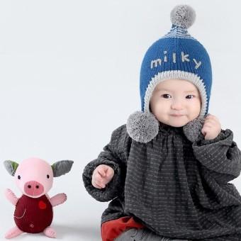 Bayi Laki-laki Perempuan Beanie Huruf Katun Topi Anak Cetak Knitting Topi- Internasional