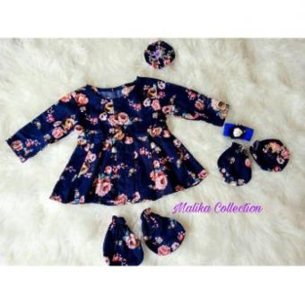 Baby Dress Flowery Navy Setelan Newborn Dress Set Headband Gelang Flower Kaos Tangan .