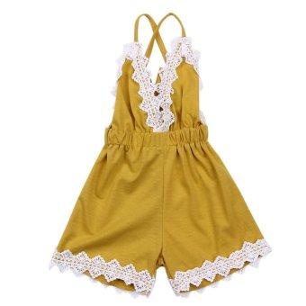 Bayi Gadis Renda Tanpa Lengan Baju Monyet V-Neck Backless Jumpsuit-Intl