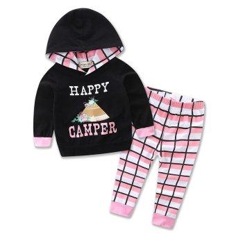 Bayi Anak Perempuan Plaid Pakaian Set Anak-anak Bayi Bayi Perempuan Baju Berkerudung T-