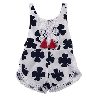 Bayi Gadis Summer Sleeveless Floral Dicetak Jumpsuit Baju Monyet -Internasional