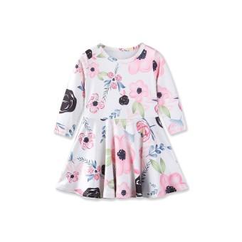 Bayi Putri Gaun Musim Gugur Gaya Lengan Panjang Bunga Cetak Desain untuk Pakaian Anak Balita Perempuan