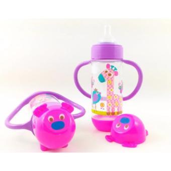 Baby Safe Feeding Bottle With Handle 250ml Karakter Animal Pink - Botol Susu Bayi