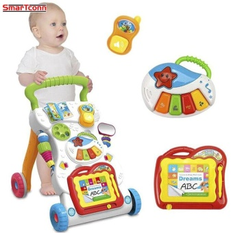 Baby Walker Toddler Trolley Sit-to-Stand Walker for Kid's EarlyLearning Educational Musical Adjustable Baby First Steps Car Hot -intl