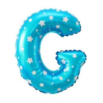 Balon Foil Huruf G Biru Motif Bintang