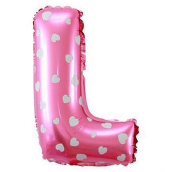 Balon Foil Huruf L Pink Motif Love