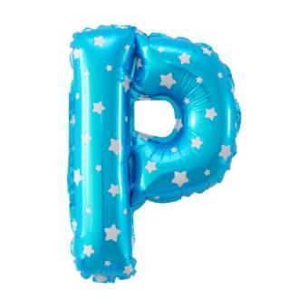 Balon Foil Huruf P Biru Motif Bintang ...