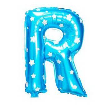Balon Foil Huruf R Biru Motif Bintang