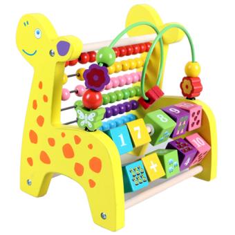Bayi kayu anak usia dini pendidikan mainan di sekitar manik-manik di sekitar