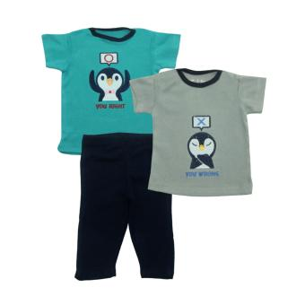 Bearhug 3 Pieces Set Bayi Perempuan 3-9M Penguin You Right Hijau