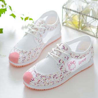 Bernapas jala siswa sekolah dasar gadis permukaan kanvas sepatu wanita sepatu sepatu sepatu