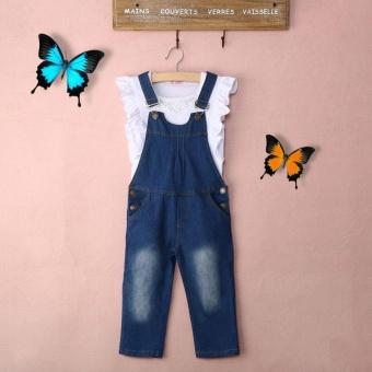 Anak Gadis Sleeveless Pakaian Set Putih Cotton Ruffle Vest + Jeans BIB Pants 2 Pcs Pakaian