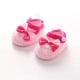 Crib Crochet Casual Baby Girls Handmade Knit Sock Bow Sepatu Bayi-Intl - 2