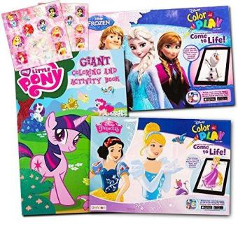 Disney MLP Coloring Book Super Set For Girls 3 Giant Books Featuring