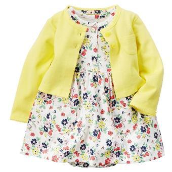 Fashion Bayi Setelan Gaun Bermotif Bunga-bunga Yang Cantik With Kardigan Kuning-Internasional