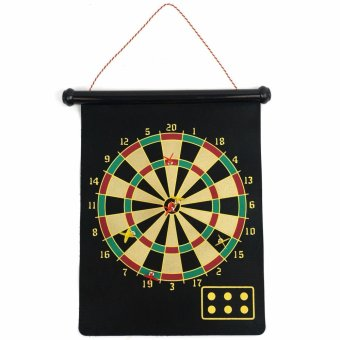 Harga LaCarLa Double Sided Hanging Magnetic Dart Board Set Game 17 Inch with 6 Magnetic Arrow - Hitam